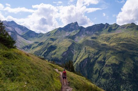 allgau: Female Hiker in the beautiful Allgau Alps near Oberstdorf, Germany