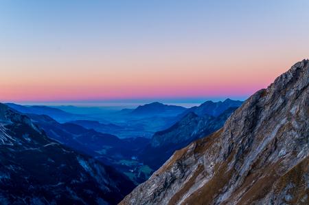 allgau: Beautiful autumn sunset in the mountains at Rappensee hut near Oberstdorf, Allgau, Germany Stock Photo