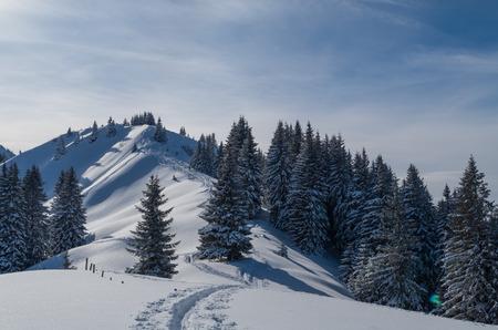 allgau: Lonely ski touring in beautiful sunny winter landscape, Oberstdorf, Allgau, Germany