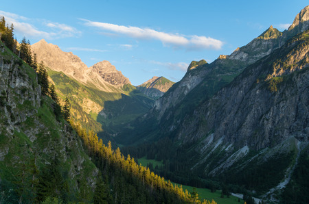 allgau: Evening mountain landscape in the Allgau Alps near Oberstdorf, Oberallgau, Germany Stock Photo