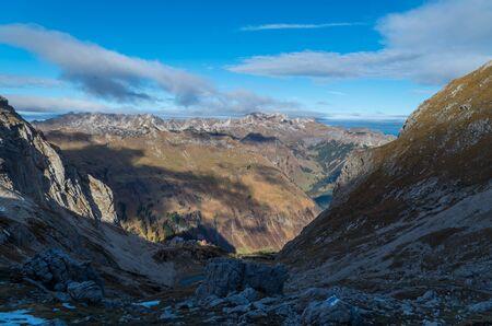 allgau: Beautiful panorama from mountain Hochvogel in Allgau alps near Oberstdorf, Oberallgau, Germany