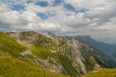 moody sky: Beautiful mountain landscape in the Lechtal Alps with moody sky, North Tyrol, Austria