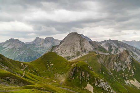 Beautiful mountain landscape in the Lechtal Alps with moody sky, North Tyrol, Austria