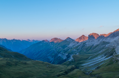 alpenglow: Beautiful sunset with alpine glow in the Lechtal Alps, view from the Stuttgart hut, Austria