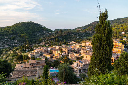 destination scenics: Beautiful panorama of the town Estellencs in the mountains of Tramuntana on Mallorca, Spain