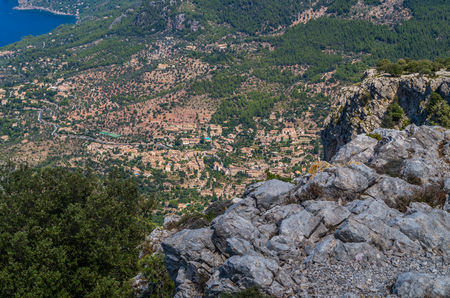 baleares: Panorama of Deia from the Tramuntana mountains on the GR 221, Baleares, Spain Stock Photo