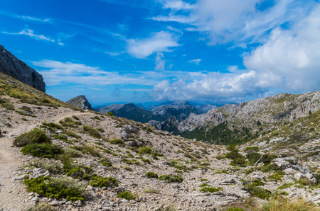 Hiking path in the mountains of Tramuntana, GR 221, Mallorca, Spain