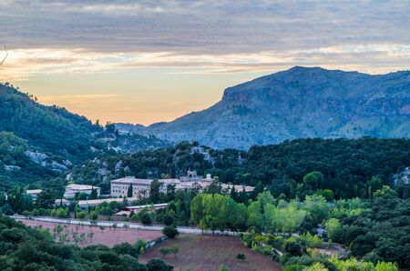 Santuari de Lluc at sunset - monastery in Majorca, Balearic Islands, Spain Stock Photo