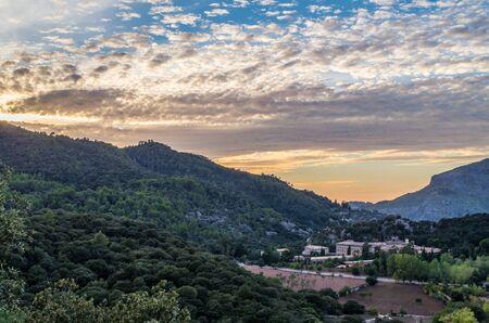 Santuari de Lluc at sunset - monastery in Majorca, Balearic Islands, Spain Stock Photo