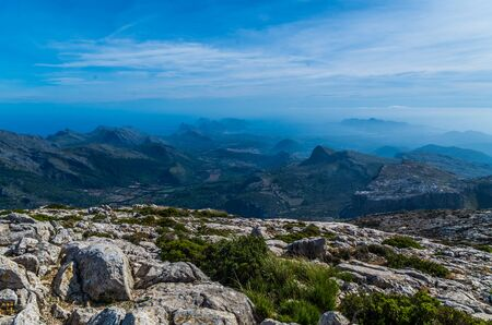 Beautiful panorama on the mediterrainean sea from the GR 221 Tramuntana mountains, Mallorca, Spain