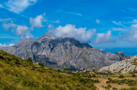 Puig Major with radar station at GR 221 in Tramuntana mountains on Mallorca, Spain Stock Photo