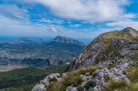 Beautiful panorama from the GR 221 hiking in the Tramuntana mountains, Mallorca, Spain
