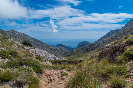 Hiking in the mountains of Tramuntana, Mallorca, Baleares, Spain Stock Photo