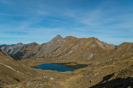 Panorma of mountain lake Schrecksee in Allgau Alps, Germany