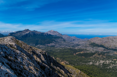 Puig de Massanella and Major in Tramuntana mountains, view while hiking on GR 221, Mallorca, Spain Stock Photo