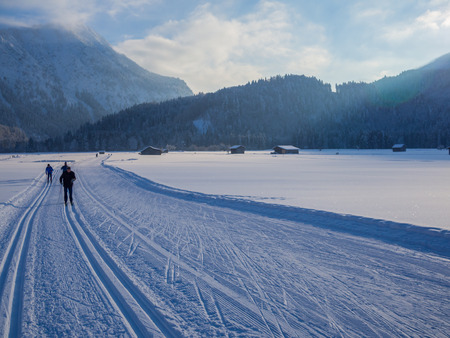 cross-country skiing in winter, Oberstdorf, Allgau, Germany