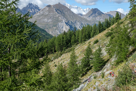 View of Mont Blanc mountain range from Aosta valley