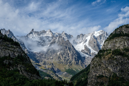Spectacular view of the Mont Blanc mountain range from Courmayeur, Italy