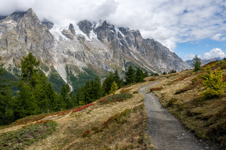 Beautiful view of the Mont Blac mountain range near Courmayeur, Italy