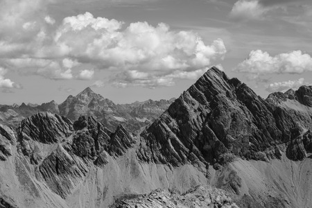 Spectacular view of the Allgaeu Alps near Oberstdorf, Germany black and white
