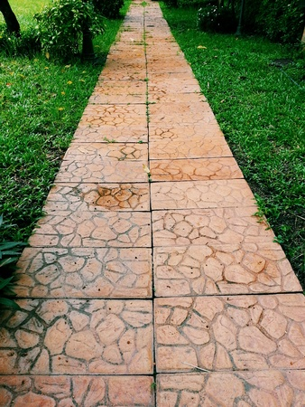 surface: The garden walkways paved with flagstone