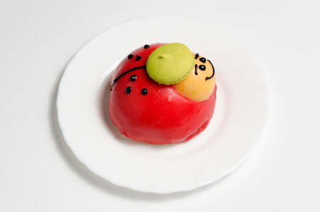 Ladybug on a white plate delicious