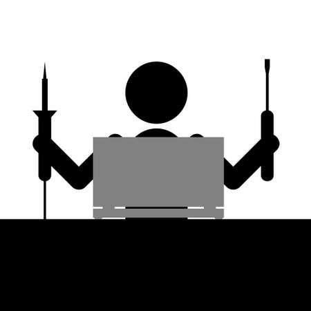 laptop repair: Hombre con un hierro y reparaci�n destornillador port�til de soldadura Vectores