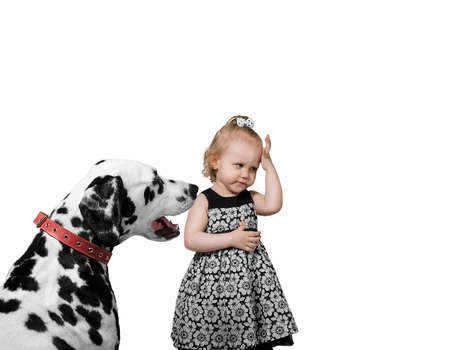 condemnation: Little Girl and Dog Dalmatian isolate photo Stock Photo