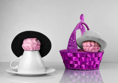 zephyr: Zephyr purple basket, cup and saucer and Zephyr in a hat