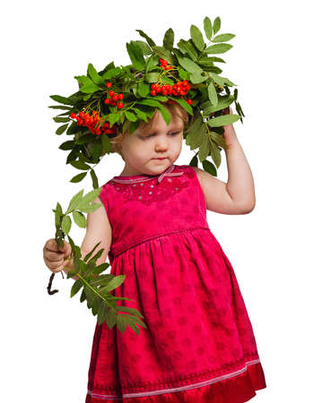 mountain ash: Little girl with a wreath of twigs and fruits of mountain ash on his head and Rowan branches in their hands isolated on white Stock Photo