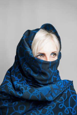 chastity: Blonde girl in a blue-black portrait paranzhe