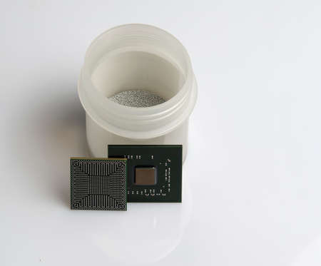 planar: Electronic Component microchip photo isolate on a white background Stock Photo