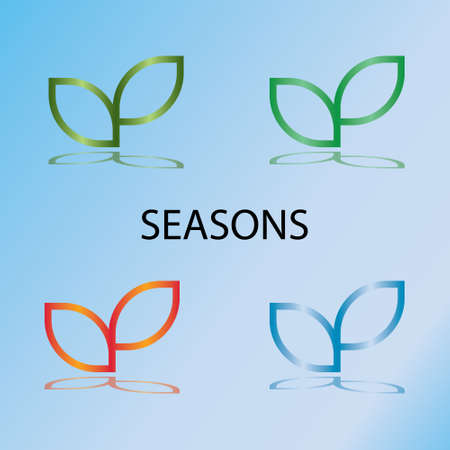 seedling growing: Seasons. Sprout mockup eco logo, green leaf seedling, growing plant. Abstract design concept for eco technology theme. Vector illustration Illustration
