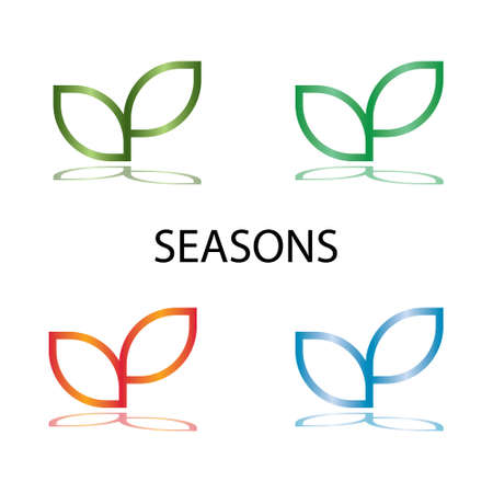 symbol icon: Seasons. Sprout mockup eco logo, green leaf seedling, growing plant. Abstract design concept for eco technology theme. Vector illustration Illustration
