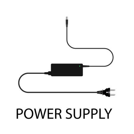 reducing: Laptop and power supply to the wire vector illustration