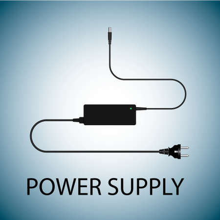 lowering: Laptop and power supply to the wire vector illustration