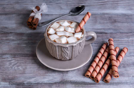 american dessert: On a light background wooden table sweet drink and dessert cup and saucer with hot chocolate, marshmallow pieces, cinnamon, wafer rolls
