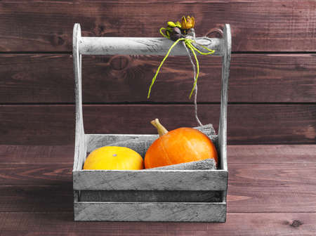 flores secas: Two small decorative pumpkins yellow and orange in a white box wooden basket on a brown background, decorated with a bouquet of dried flowers in rustic style, empty place for text Foto de archivo