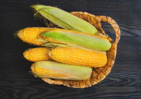 Fresh corn on the cob in wicker basket on brown wooden table. Purified corn cobs. Untreated corn cobs. Top view.