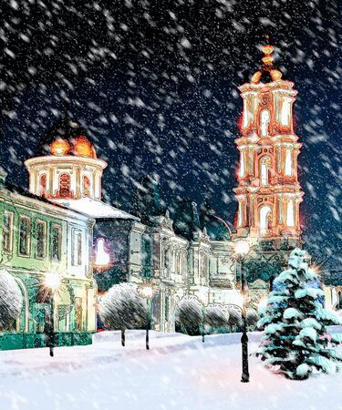 The Orthodox Cathedral At Night Snowstorm Stock Photo