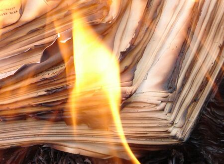 Flame of burning paper sheet stack 02 Stock Photo - 659714