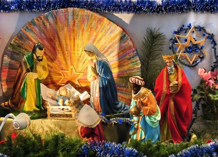 christmas scene with biblical statues