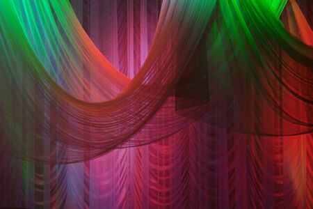 Scene background curtains illuminated with color lights