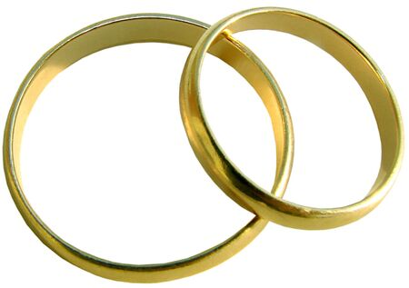 Two wedding gold rings on white background