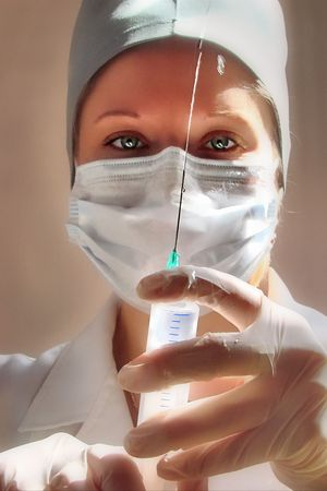 female medical nurse with syringe 1 Stock Photo