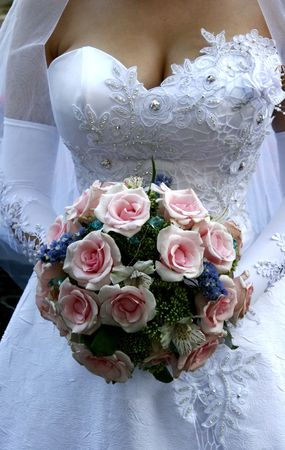 Bride torso with bouquet in white wedding dress 2 Stock Photo - 1744335