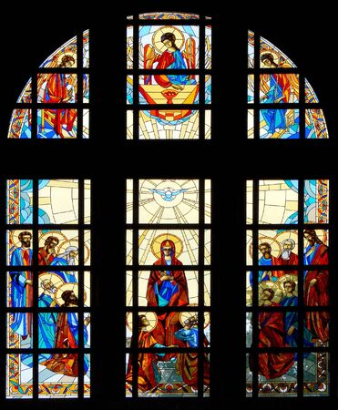 Colrful stained glass window of christian cathedral Stock Photo - 2289561