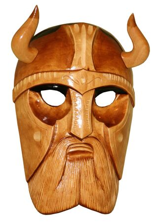 Wooden hadmade mask of viking Stock Photo