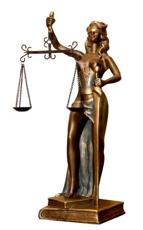 Golden statuette of justice goddess Themis or Nemesis  with scales and sword