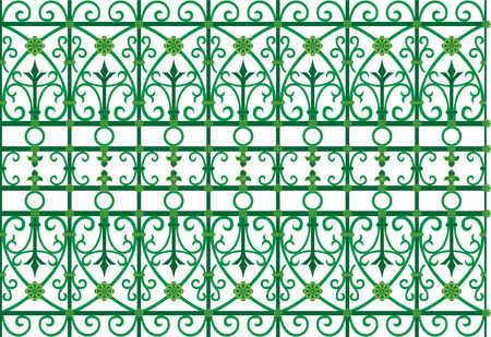vector image of metal scoop  grating fence  Ilustrace